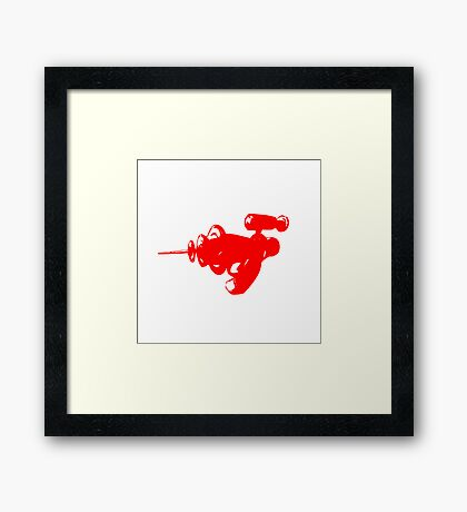 Alien Ray Gun - Red Framed Print
