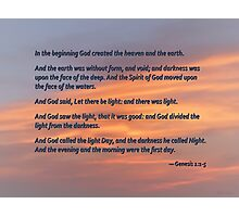 Genesis 1 1-5 In the Beginning Photographic Print