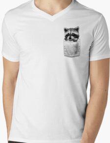 Raccoon Mens V-Neck T-Shirt