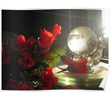 Red rose and crystal globe Poster