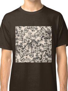 Trendy vintage black white hand drawn floral  Classic T-Shirt