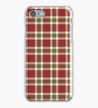 Chic burgundy green christmas plaid tartan iPhone Case/Skin