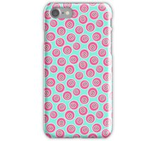 Trendy retro modern teal pink circles pattern iPhone Case/Skin