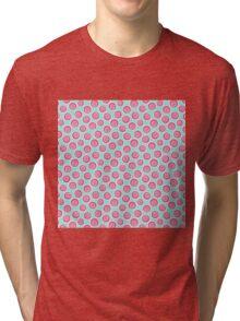 Trendy retro modern teal pink circles pattern Tri-blend T-Shirt