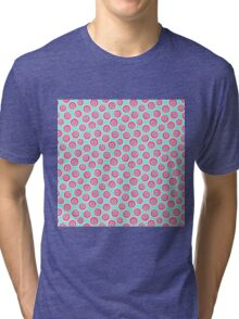 Trendy retro modern teal pink circles pattern Tri-blend T-Shirt
