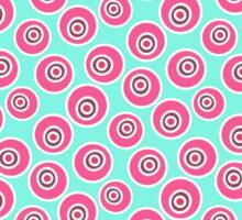 Trendy retro modern teal pink circles pattern Sticker