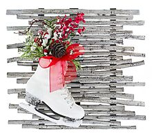Christmas Ice Skate Shoes Vintage Rustic  Photographic Print