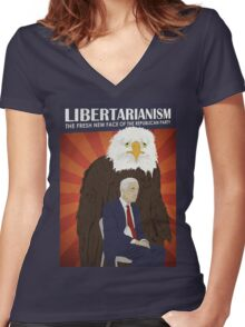 Libertarianism: The Fresh New Face of the Republican Party Women's Fitted V-Neck T-Shirt