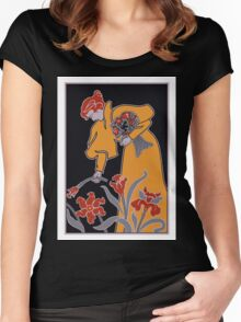 Lady with flowers modern art nouveau Women's Fitted Scoop T-Shirt