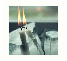 Frozen Lit Candles Art Print