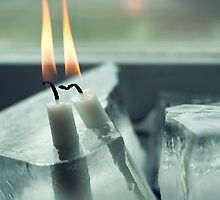 Frozen Lit Candles by Bjarte Edvardsen