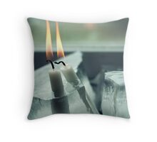 Frozen Lit Candles Throw Pillow