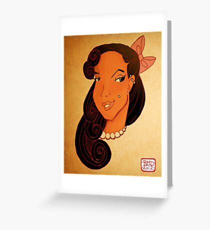 Pin up girl headshot Greeting Card