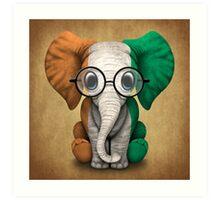 Baby Elephant with Glasses and Ivory Coast Flag Art Print