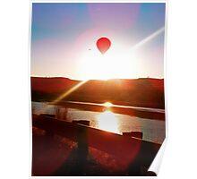 Sun beam, Hot air balloon Poster