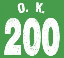 Team shirt - 200 O.K., white letters Baby Tee