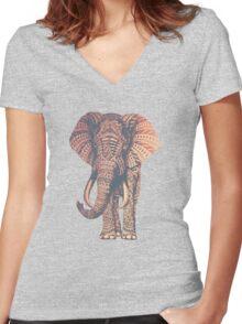 Fairy Elephant  Women's Fitted V-Neck T-Shirt