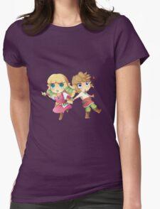 Legend of Zelda Skyward Sword: Chibi Link and Zelda Womens Fitted T-Shirt