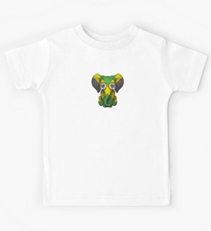 Baby Elephant with Glasses and Jamaican Flag Kids Tee