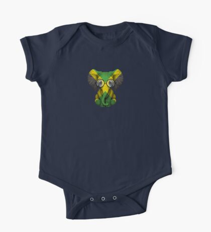 Baby Elephant with Glasses and Jamaican Flag One Piece - Short Sleeve