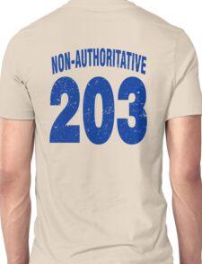 Team shirt - 203 Non-Authoritative, blue letters Unisex T-Shirt