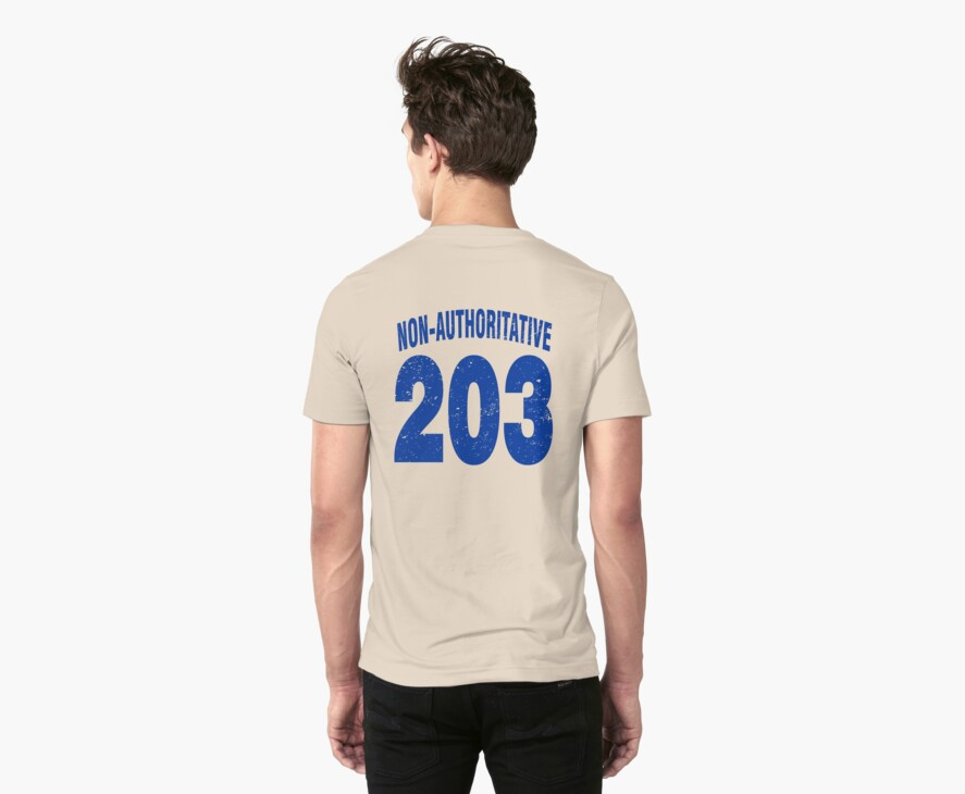 Team shirt - 203 Non-Authoritative, blue letters by JRon