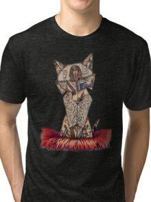 cat lover vintage origami Tri-blend T-Shirt