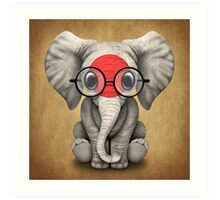 Baby Elephant with Glasses and Japanese Flag Art Print