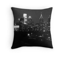 Philadelphia Skyline Panorama - Photo B&W Throw Pillow