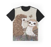 Owl and Hedgehog Graphic T-Shirt