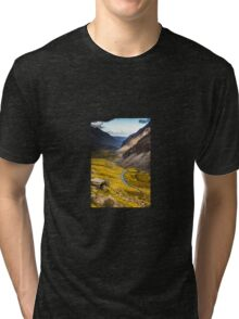 Views from the Pyg Track onto Road Below, Snowdonia Tri-blend T-Shirt