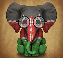 Baby Elephant with Glasses and Kenyan Flag by Jeff Bartels