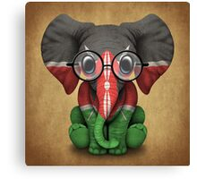Baby Elephant with Glasses and Kenyan Flag Canvas Print
