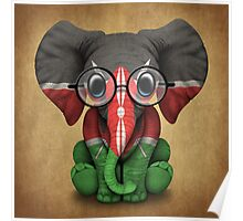 Baby Elephant with Glasses and Kenyan Flag Poster