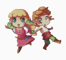 Legend of Zelda Skyward Sword: Chibi Link and Zelda (pixel version) One Piece - Short Sleeve