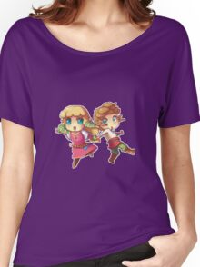Legend of Zelda Skyward Sword: Chibi Link and Zelda (pixel version) Women's Relaxed Fit T-Shirt