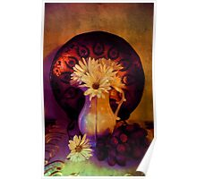 Still Life with Daisy flowers and grapes Poster