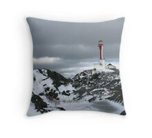 Cape Forchu Light in winter Throw Pillow