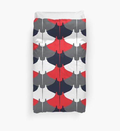Manta Ray Pattern (Blue and Red) Duvet Cover