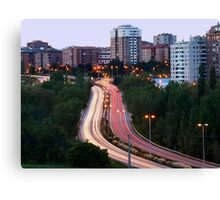 Horizontal View of City traffic Canvas Print
