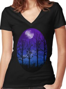 OWLMOON Women's Fitted V-Neck T-Shirt