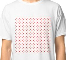 Red Polka Dots on White Pattern Classic T-Shirt