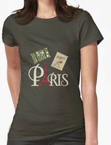 Cute Vintage Paris Luggage Stamp and Eiffel Tower Womens Fitted T-Shirt