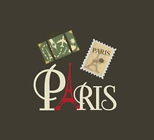 Cute Vintage Paris Luggage Stamp and Eiffel Tower Unisex T-Shirt