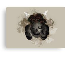 Skulls and Flowers Canvas Print