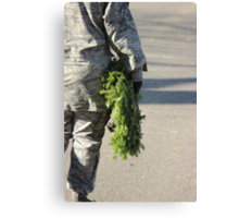 Soldier with a wreath Canvas Print
