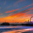 Santa Monica Pier Sunset by Eddie Yerkish