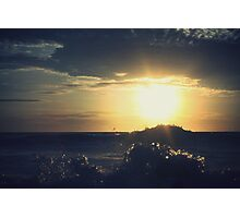 Beach Sunset with waves Photographic Print