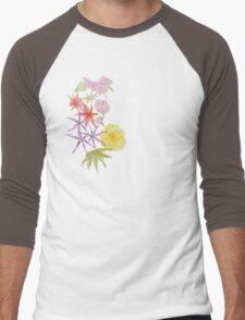 Watercolour florals on purple Men's Baseball ¾ T-Shirt