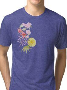 Watercolour florals on purple Tri-blend T-Shirt